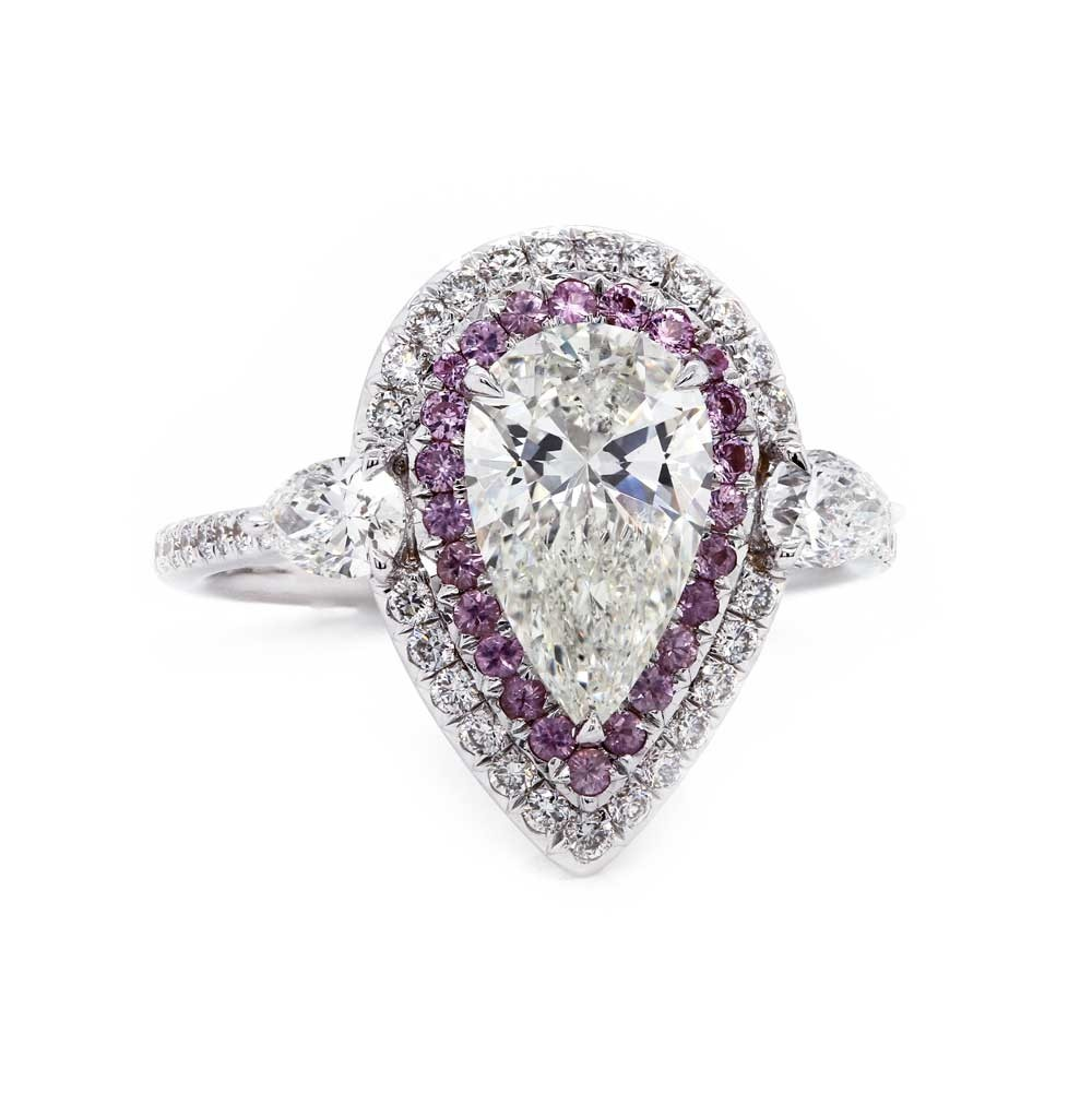 Pear Diamond Pink Sapphire Halo Ring