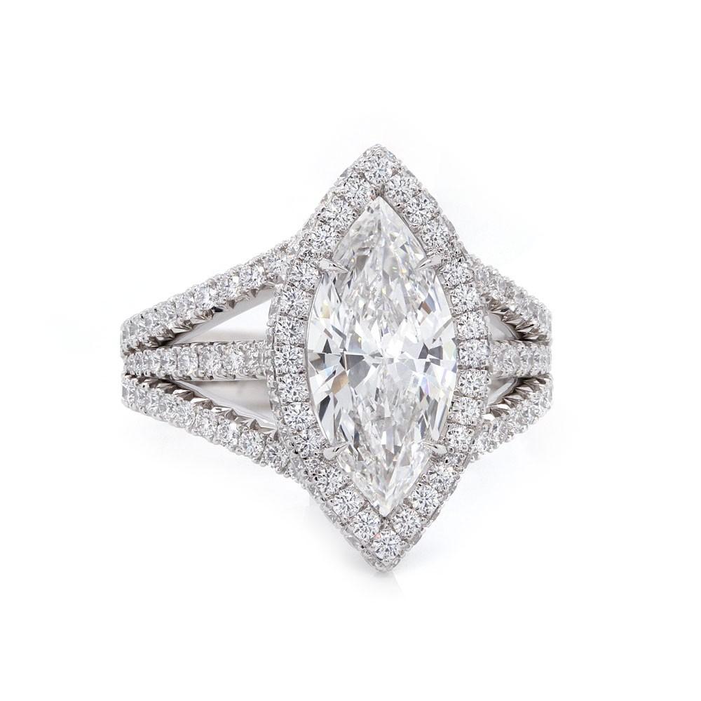 Marquise Diamond Halo Triple Band Engagement Ring