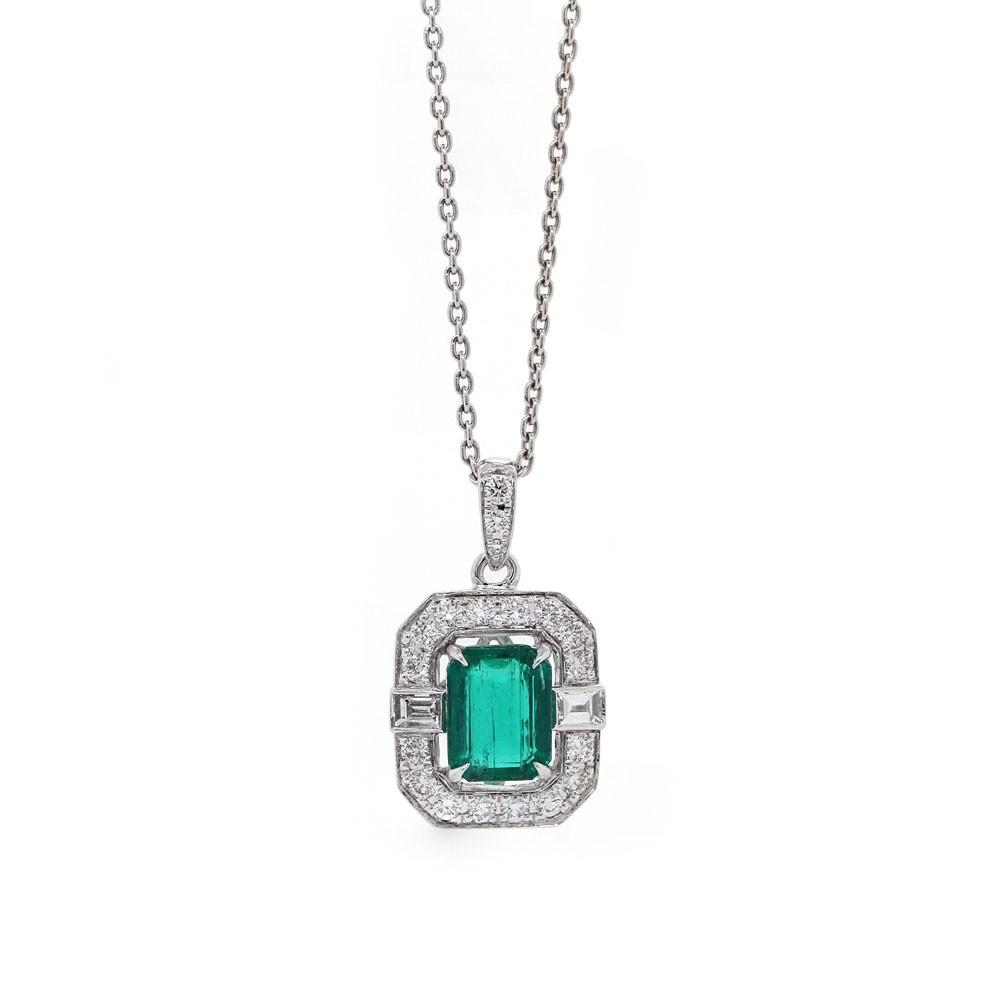 Emerald and Diamond Art Deco Design Pendant