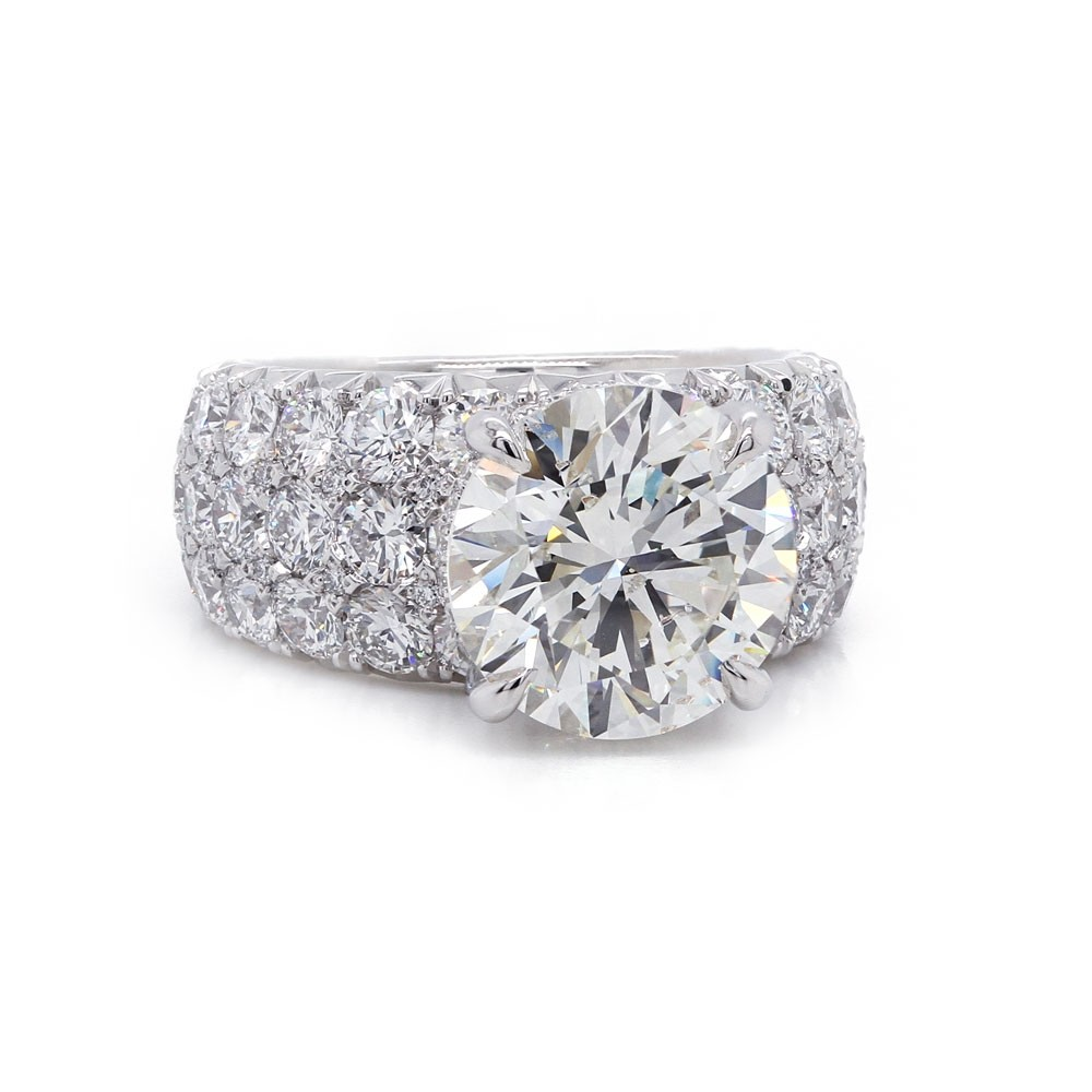 Round Tapered Pave Engagement Ring