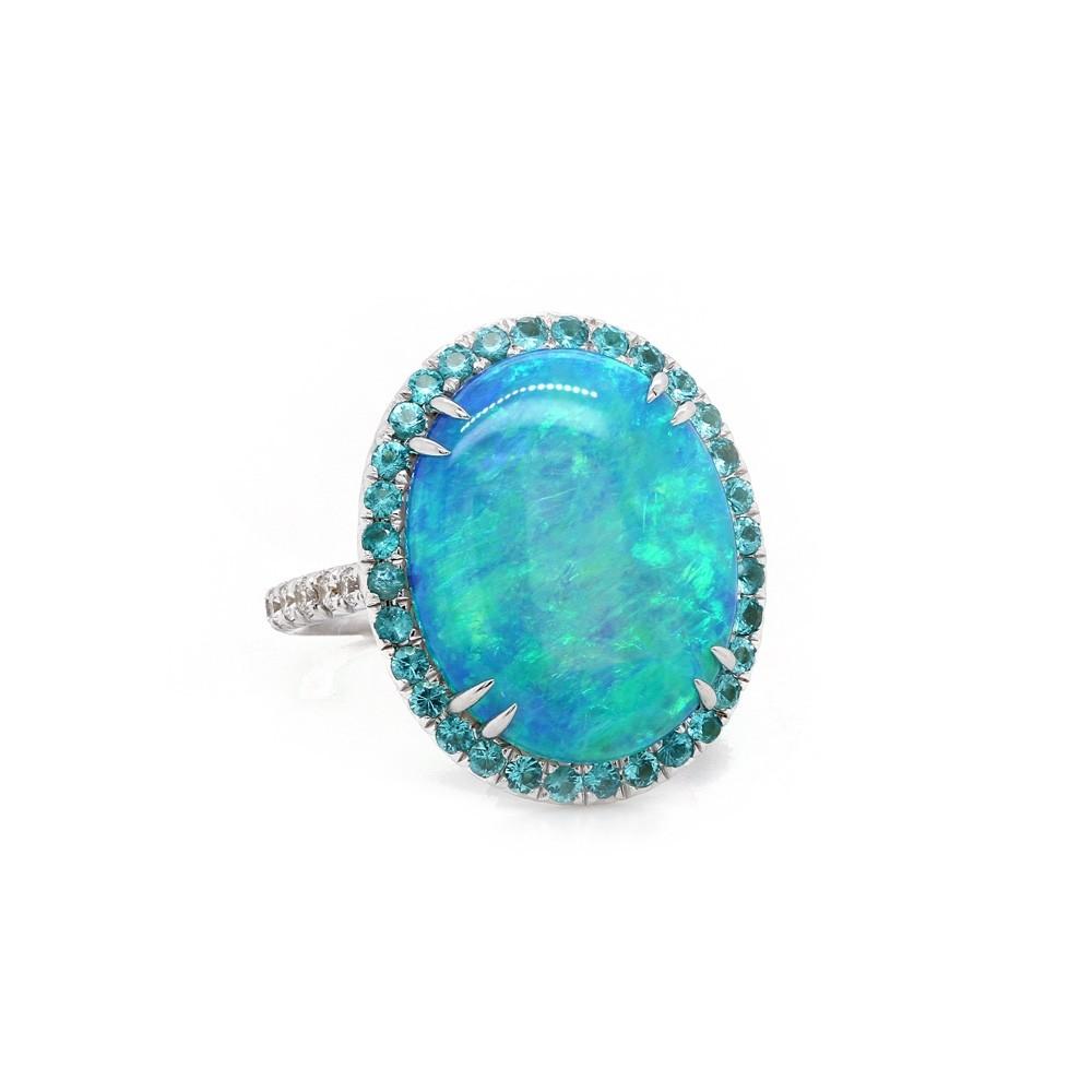 Black Opal with Pariaba Tourmaline Halo Ring
