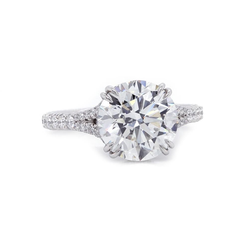 Round Diamond Split Shank Engagement Ring