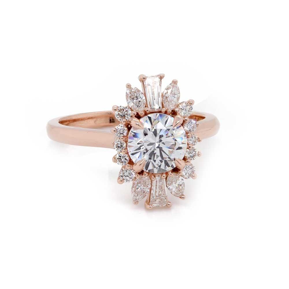 Rose Gold Spray Halo Engagement Ring