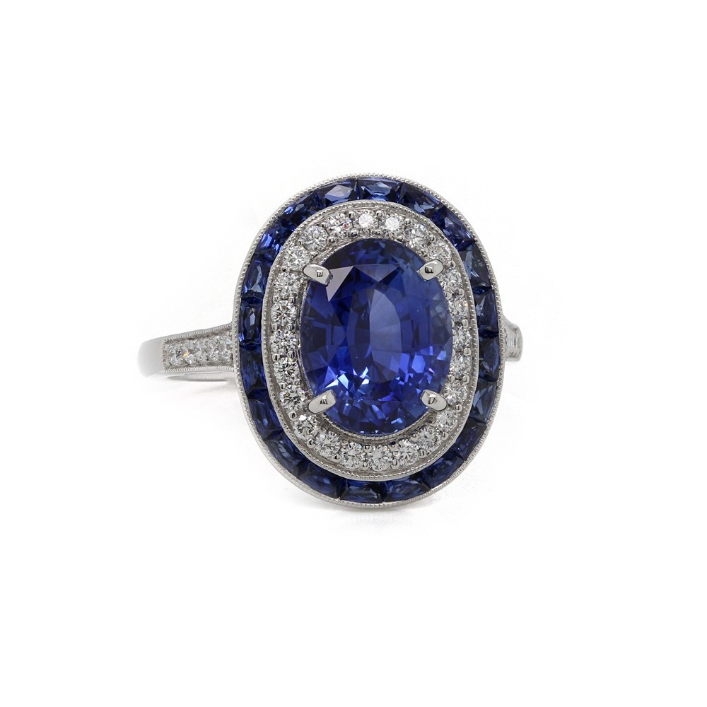 Vintage Style Sapphire Halo Ring