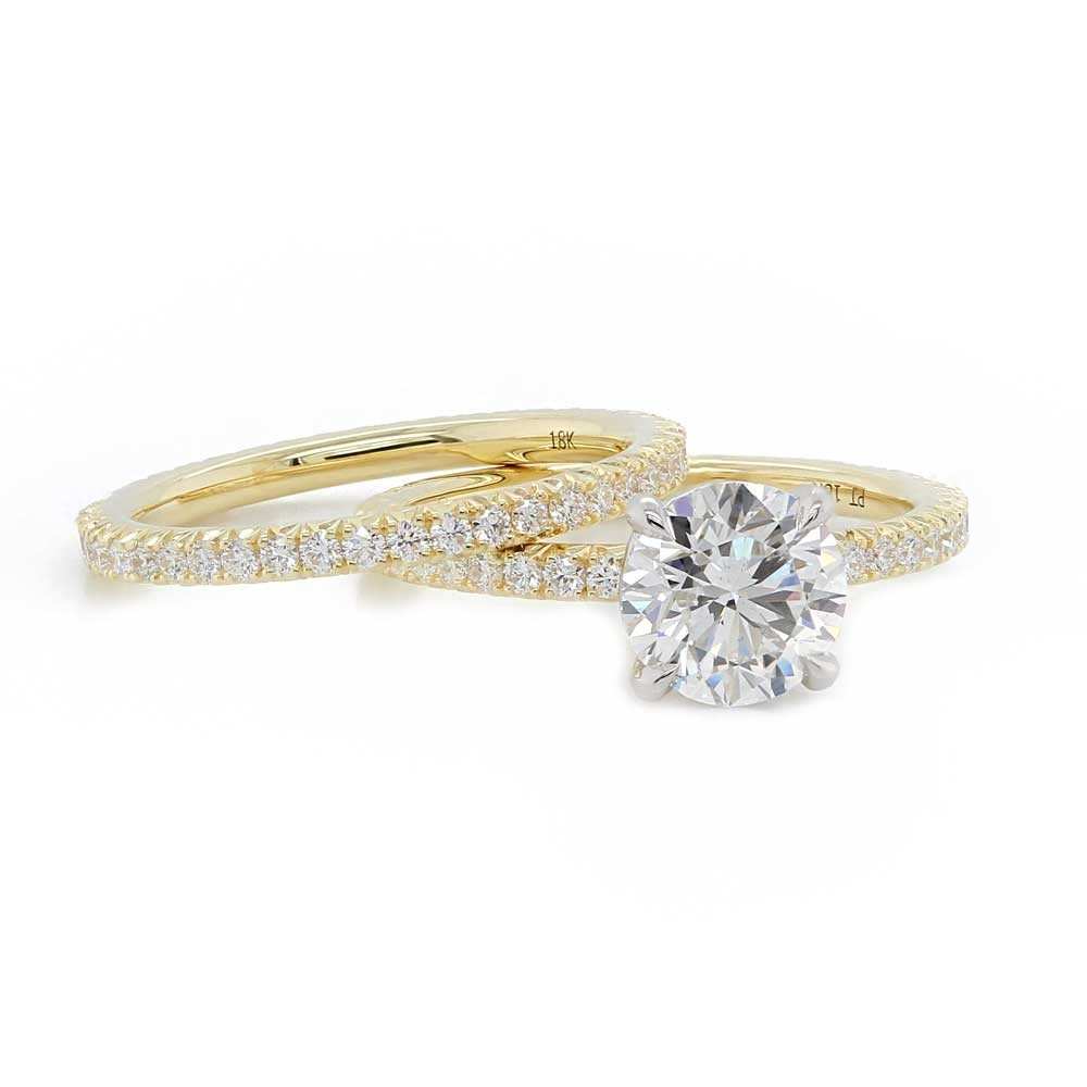 Yellow Gold French Pave Wedding Set