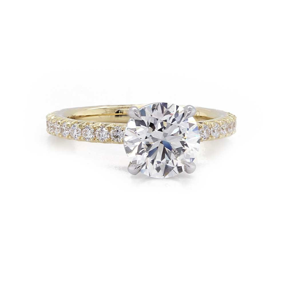Yellow Gold French Pave Engagement Ring