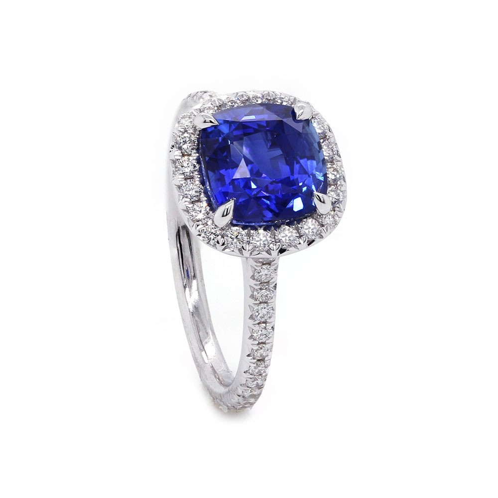 Electric Blue Sapphire Halo Ring