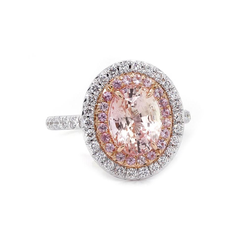 Unheated Peach Sapphire Halo Ring