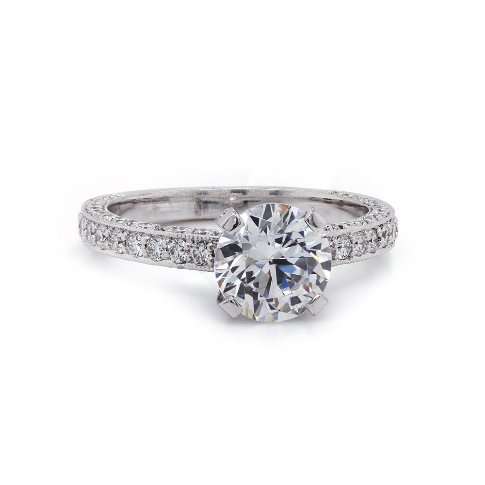 Three-sided bordered pave' diamond ring