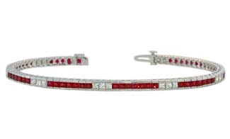 Princess cut ruby and diamond channel set bracelet