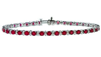 6.7ctw ruby and diamond prong set bracelet