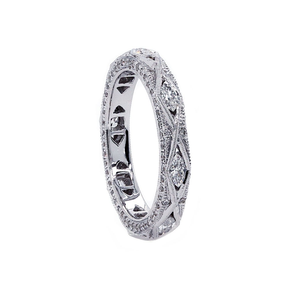 Marquise diamond millgrained three-sided pave band