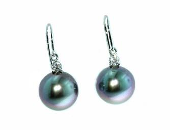 Black South sea's pearl and diamond drop earrings