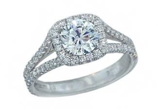 Custom pave' split shank cushion halo diamond ring