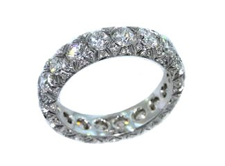 French pave diamond fancy lattice eternity band