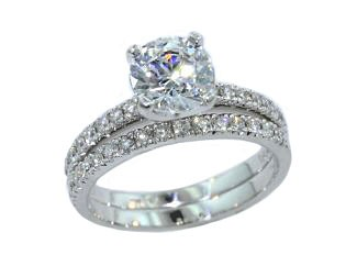 Pave' set diamond two piece wedding set