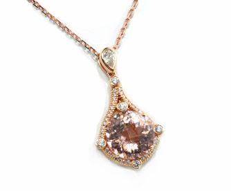 Checkerboard cut Morganite diamond pave' pendant