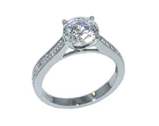Channel set princess cut diamond ring