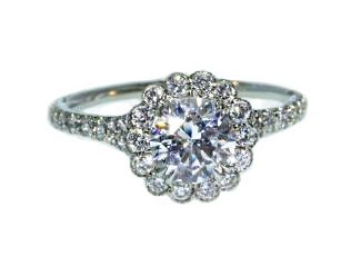 Bezel set diamond halo flower engagement ring