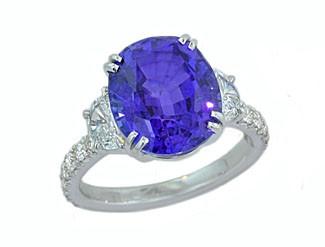 Custom Tanzanite and half moon diamond ring