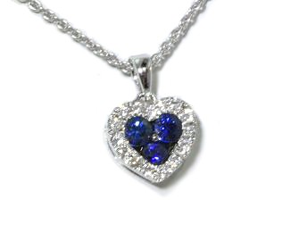 Blue sapphire and pave' diamond heart pendant