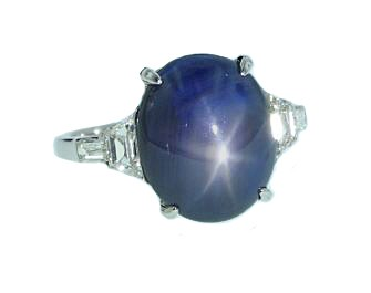 Estate platinum Star Sapphire and diamond ring
