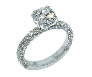 Custom three-sided pave cupcake crown diamond engagement ring