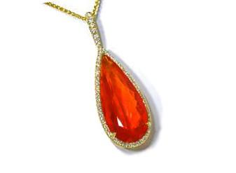 7.00ct fire opal diamond pave' teardrop pendant
