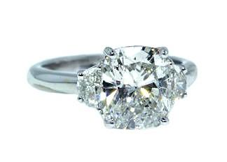 Custom cushion with half moon sides diamond ring