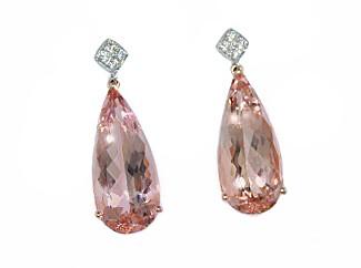 16.65ctw teardrop Morganite and diamond earrings