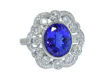 4.22ct Tanzanite and diamond heirloom style ring