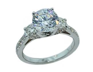 Three-stone diamond pave undergallery engagement ring