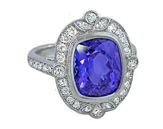 5.84ct cushion Tanzanite vintage style framed ring
