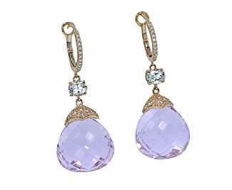 Amethyst briolette brose gold pave' drop earrings