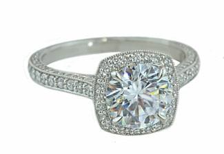 Cushion halo 3-sided pave' diamond ring