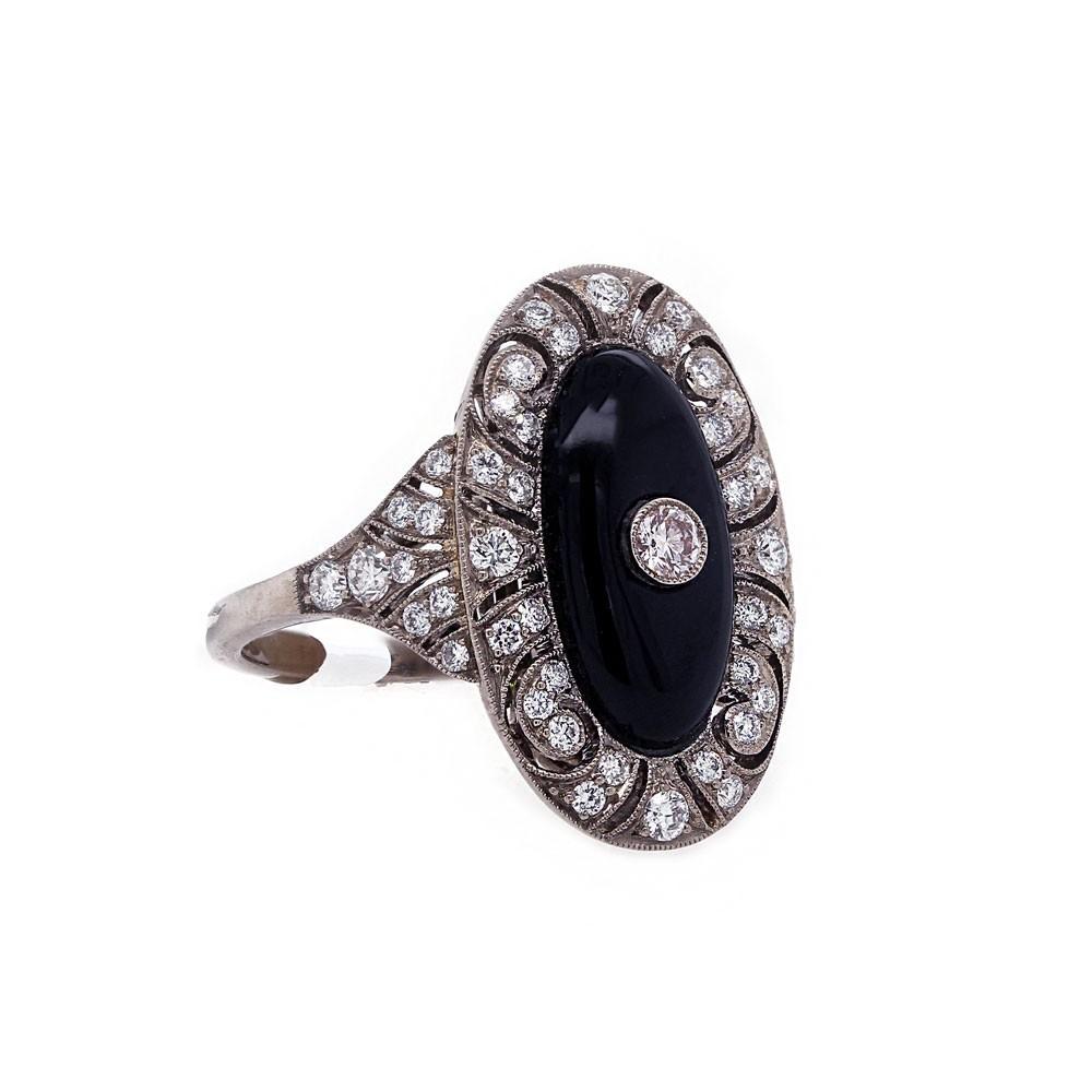 Onyx Diamond and Filigree Ring