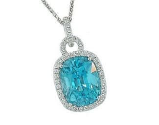 9.62ct cushion blue Zircon pave' halo pendant