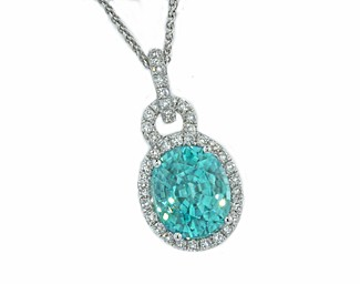 5.28ct blue Zircon pave' diamond halo pendant