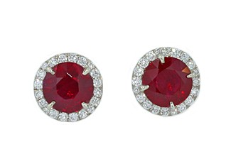 2.20ctw ruby solitaire pave' diamond halo earrings