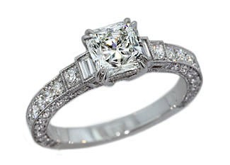 Custom made 1.04ct Lucere diamond custom 3-sided pave ring