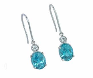 4ctw blue Zircon diamond dangle earrings
