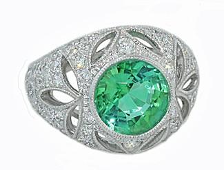 2.86ct Mint tourmaline leaf-motif diamond ring