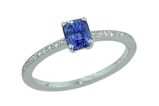 Delicate .98ct radiant sapphire pave diamond ring