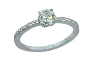 .57ct F color Round Brilliant diamond delicate pave diamond