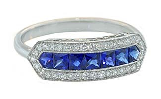 Princess sapphire pave diamond vintage style band