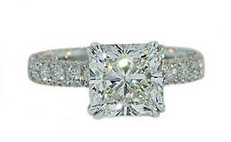 3ct Radiant diamond 3-sided pave ring