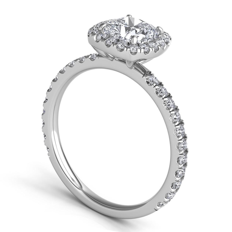 Sasha Primak Pave Diamond Cushion-Shaped Halo Engagement Ring ER323K-PT-Q4