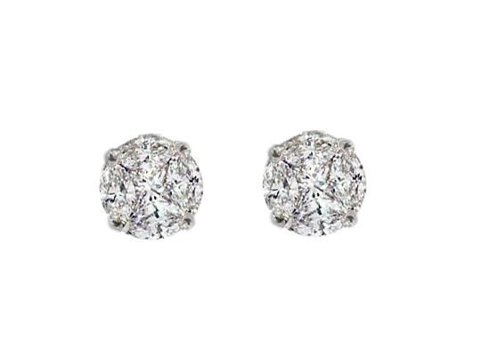 Seamless illusion diamond solitaire style earrings
