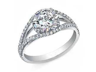 Split shank fishtail pave' diamond ring 14k white