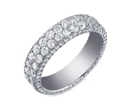 Custom two row three-sided pave' diamond band